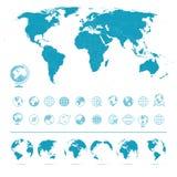 Mapa del mundo, iconos y símbolos - ejemplo de los globos ilustración del vector