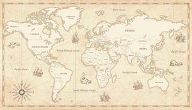 Mapa del mundo ilustrado vintage stock de ilustración