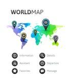 Mapa del mundo infographic de color del arco iris Foto de archivo