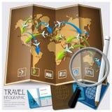 Mapa del mundo Infographic del viaje y del viaje Fotos de archivo libres de regalías