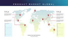 Mapa del mundo infographic Mercado de producto global libre illustration