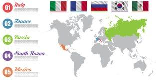 Mapa del mundo infographic Presentación de diapositivas Italia, Francia, Rusia, Corea del Sur, concepto del márketing de negocio  ilustración del vector