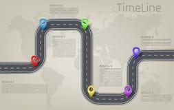 Mapa del mundo infographic del vector, disposición de la cronología del camino Imagen de archivo libre de regalías