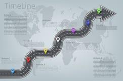 Mapa del mundo infographic del vector, disposición de la cronología del camino stock de ilustración