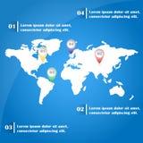Mapa del mundo Infographics con las marcas del indicador Imagen de archivo