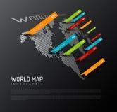 Mapa del mundo ligero con las marcas del indicador de las gotitas ilustración del vector