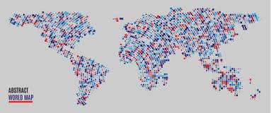 Mapa del mundo multicolor de los puntos Cambio fácil de los colores Mapa del mundo abstracto con las formas cuadradas para infogr stock de ilustración