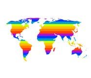 Mapa del mundo multicolor en concepto del orgullo gay Imagenes de archivo