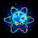Mapa del mundo olográfico y medios iconos sociales ilustración del vector