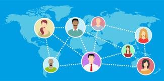 Mapa del mundo plano con el avatar del establecimiento de una red - ejemplo Imágenes de archivo libres de regalías