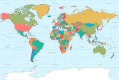 Mapa del mundo plano de los colores Imágenes de archivo libres de regalías