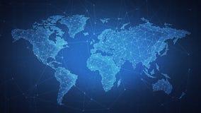 Mapa del mundo del polígono en bandera del hud del blockchain ilustración del vector