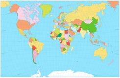 Mapa del mundo político en blanco Foto de archivo