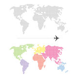 Mapa del mundo punteado color Fotografía de archivo libre de regalías