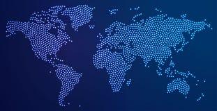 Mapa del mundo punteado con las luces del punto Imagen de archivo libre de regalías