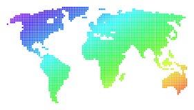 Mapa del mundo punteado del espectro del pixel ilustración del vector