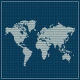 Mapa del mundo punteado sobre fondo azul libre illustration