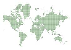 Mapa del mundo punteado verde Foto de archivo