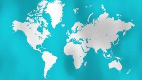 Mapa del mundo que agita la bandera azul ilustración del vector