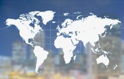 Mapa del mundo que brilla intensamente de Digitaces en fondo Fotografía de archivo libre de regalías
