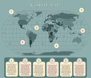 Mapa del mundo simple con los capitales Diseño plano con rejilla, la etiqueta y la leyenda en el mapa libre illustration