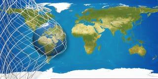 Mapa del mundo sobre balón de fútbol en red del fútbol meta 3D-Illustration Fotografía de archivo