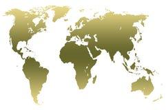 Mapa del mundo verde de color caqui de la pendiente, aislado Fotos de archivo libres de regalías