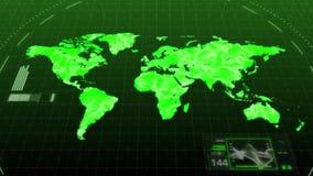 Mapa del mundo verde del ambiente de la animación que muestra continentes importantes del concepto entre Asia y Europa del ordena ilustración del vector