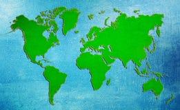 Mapa del mundo verde del grunge Imagen de archivo libre de regalías