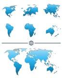 Mapa del mundo y continentes Fotografía de archivo