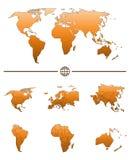 Mapa del mundo y continentes Imagen de archivo