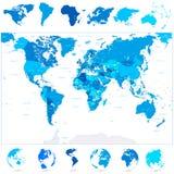 Mapa del mundo y continentes azules Foto de archivo libre de regalías