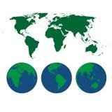 Mapa del mundo y globos stock de ilustración