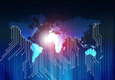 Mapa del mundo y placa de circuito de alta tecnología Imagen de archivo