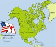 Mapa del NAFTA Foto de archivo libre de regalías