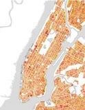 Mapa del New York City, NY, los E.E.U.U. Fotografía de archivo