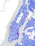 Mapa del New York City, NY, los E.E.U.U. Fotografía de archivo libre de regalías