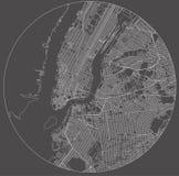 Mapa del New York City, NY, los E.E.U.U. Foto de archivo
