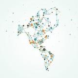 Mapa del norte y de Suramérica Imagen de archivo