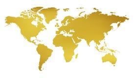 Mapa del oro del mundo aislado sobre blanco fotografía de archivo libre de regalías
