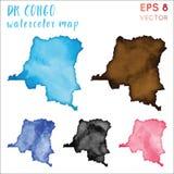 Mapa del país de la acuarela del dr Congo stock de ilustración