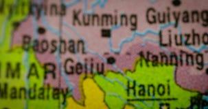 Mapa del país de Laos en el mapa del mundo almacen de video