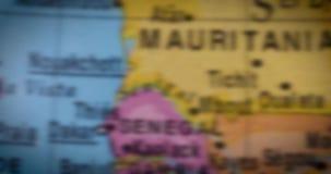 Mapa del país de Senegal en el globo metrajes