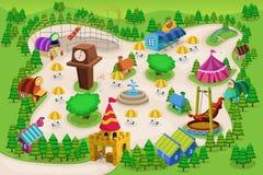 Mapa del parque de atracciones Imagen de archivo libre de regalías