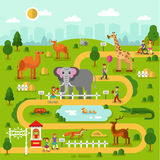 Mapa del parque zoológico ilustración del vector