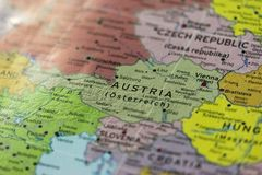 Mapa del primer de Austria en la escena geopolítica de Europa imágenes de archivo libres de regalías