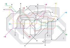 Mapa del subterráneo, una red del metro Foto de archivo libre de regalías