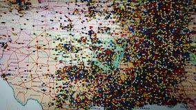 Mapa del tablero del perno de los E.E.U.U. imagenes de archivo