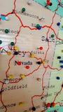 Mapa del tablero del perno de Nevada fotos de archivo
