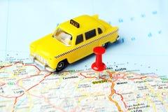Mapa del taxi de Oviedo, España fotografía de archivo